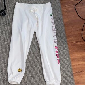 PINK Victoria secret white sweatpants